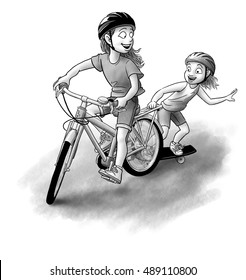 Two sisters play in the street.  The oldest rides her bike pulling the little on along on her skateboard.