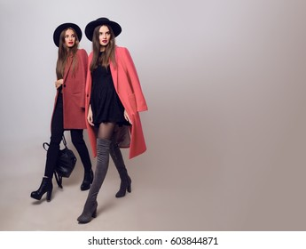 Two sisters walking. Hight fashion look.  Trendy spring clothes.  Casual models posing on grey background. Space for text.