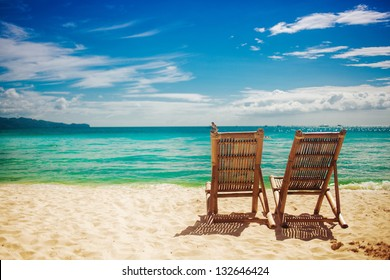 Two sitting place in a tropical beach