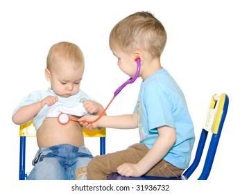 Two sittings kids playing doctor. White background