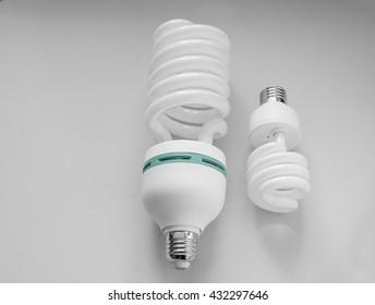 two size energy saving lamp  on white background