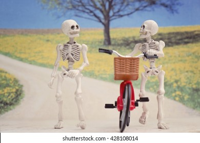 Two skeletons walking and chatting with a bicycle - springy textured