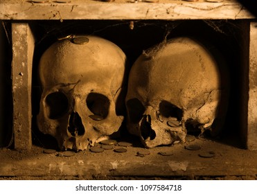 Two skulls in a wooden box. Recorded in Naples.