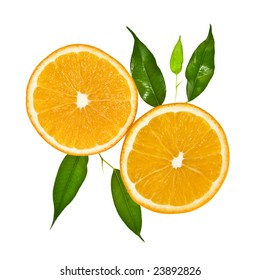Two slice of orange with leaves isolated on a white background