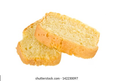 Two slices of fresh homemade butter cake isolated on a white background