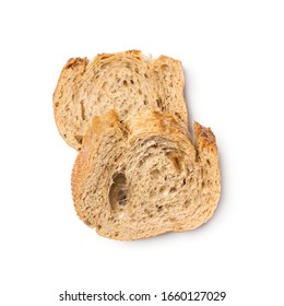 Two slices of fresh wholegrain bread isolated on white background