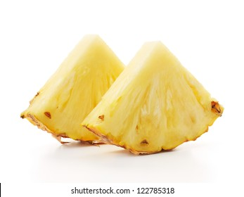 two slices of pineapple isolated on white