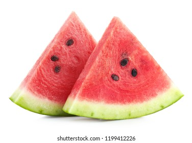 Two slices of ripe watermelon isolated on white background