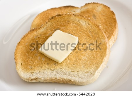 two slices toast slice butter on stock photo edit now 5442028