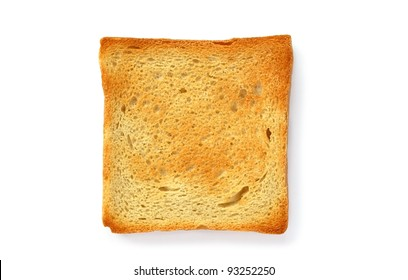 two slices of toasted bread on a white background