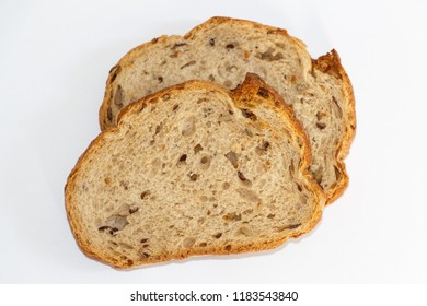 Two slices of wholemeal bread with grains
