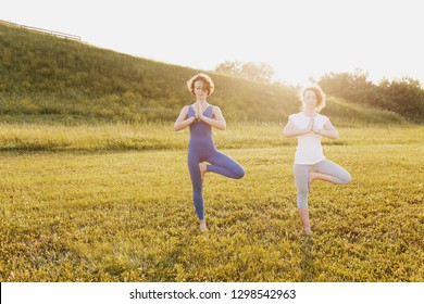 Two slim beautiful healthy young girls yoga lovers doing vrikshasana on a green lawn in a sunny summer park a warm day. Healthy slim body concept