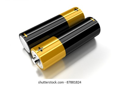 Two small batteries on the white background