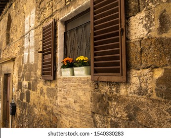 Two small containers containing brighly coloured flowers sitting on a window ledge against a brown background nobody in the image