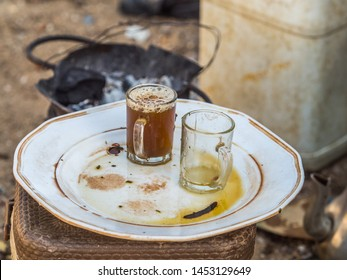 Two small glasses of  traditional senegalese tea called 'Ataya' in Wolof language. Senegal. Africa.