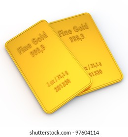 two small gold bars with the weight of 1 ounce
