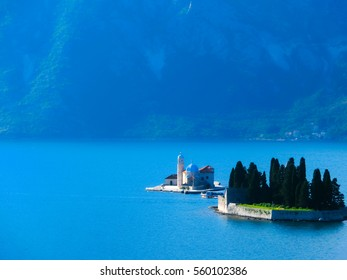 The two small islands at Boka Kotor bay in Montenegro