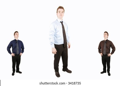 two small men and one big man in the middle, on isolated white