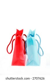 Two small present or shopping bags isolated