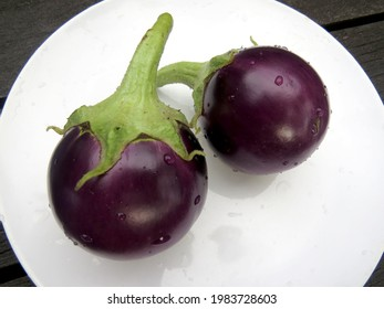 Two small round purple eggplants on a round white plate on a wooden table