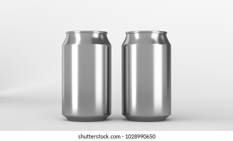 Two small silver aluminum soda cans mockup on white background. Tin package of beer or drink. 3D rendering illustration