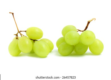 Two small string of green grape isolated over white background.