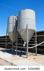 Two small tower silos on farm