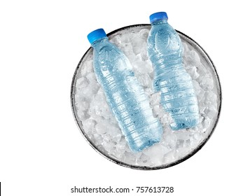 Two small water bottle in a bucket with ice, top view