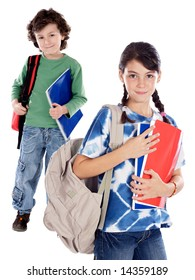 Two smalls students a over white background