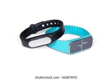 Two smart wristband isolated on white with clipping path.