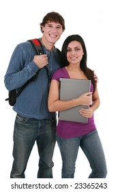 Two Smiling Casual Dressed College Student on Isolated White Background