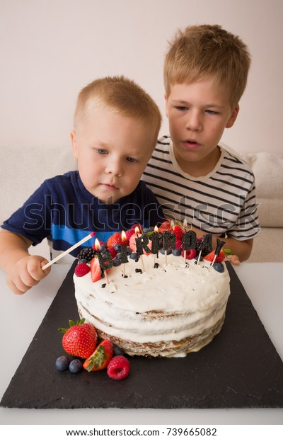 Admirable Two Smiling Cute Boys Birthday Cake Stock Photo Edit Now 739665082 Birthday Cards Printable Nowaargucafe Filternl