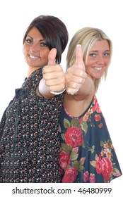 Two smiling girls thumbs up