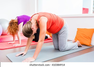 Two smiling pregnant women side by side in all-fours position exercising during prenatal class on yoga mat