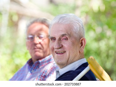 Two smiling retired men sitting on bench in park