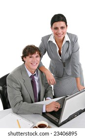 Two Smiling Young Businesspeople Working in Office