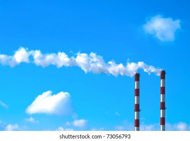 Two smoking chimneys / Pollution / Power plant