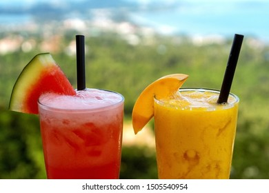 two smoothie cocktails by the sea in Thailand