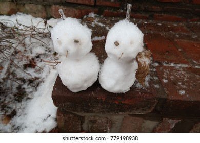 two snow couple on the step