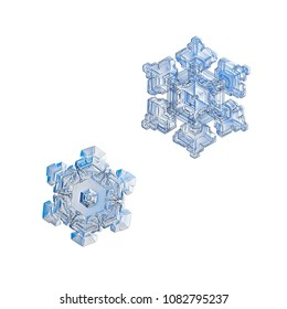 Two snowflakes isolated on white background. Macro photo of real snow crystals: small star plates with glossy relief surface, simple shapes, large central hexagons and complex inner patterns.