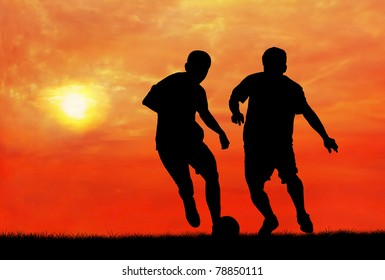two soccer players catching the ball