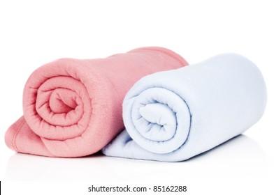 two soft fleece blankets
