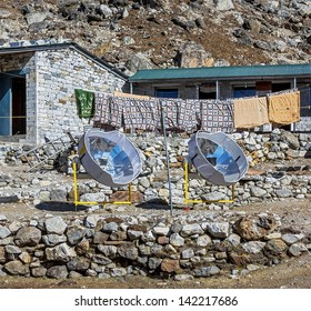 Two solar oven apply in the Lobuche village for cooking - Everest region, Nepal, Himalayas