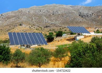 Two solar panels on Crete island