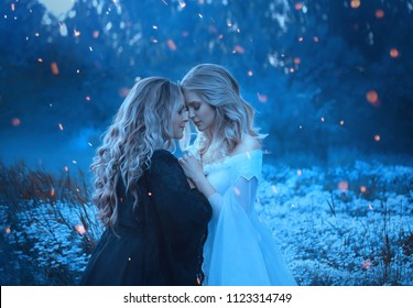 Two sorceresses are dark and light pressed against each other. Around them flashes of magic with sparks, the exchange of energy of the opposite. Yin and yang. Art Photo