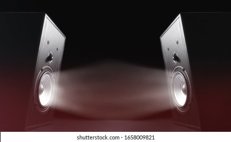 Two sound speakers with funny faces and sound waves on black background.