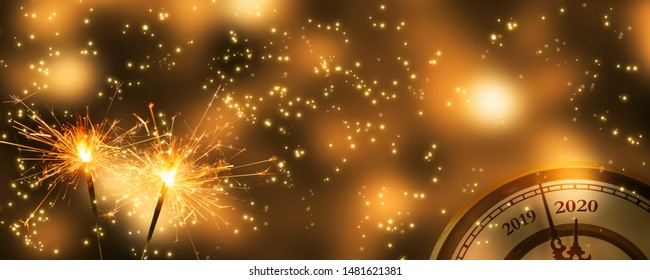 two sparklers at the change of the year - Shutterstock ID 1481621381
