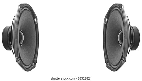 Two speakers pointing in with white space at the center. Isolated on white.