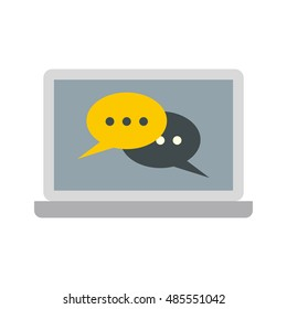 Two speech bubbles on a laptop icon in flat style on a white background