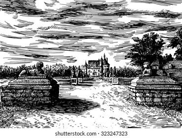 Two sphinx statues in the park near the castle Chenonceau, France. Black and white dashed style sketch, line art, drawing with pen and ink. Retro vintage picture.